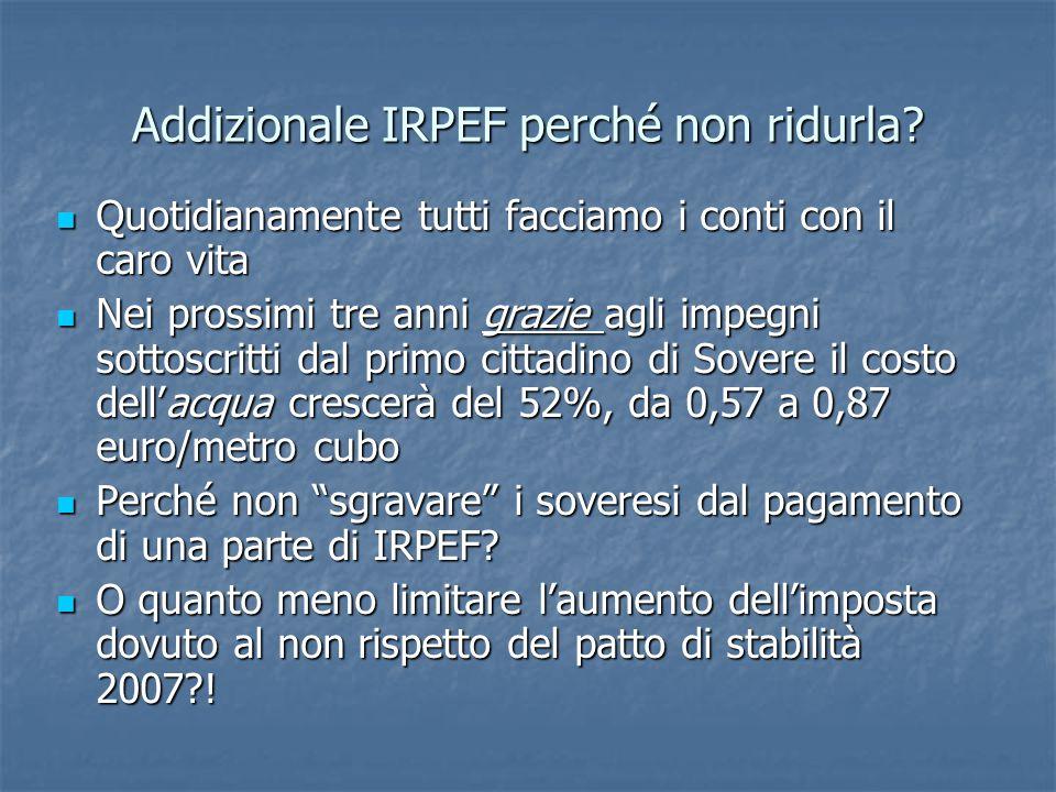 Addizionale IRPEF perché non ridurla.