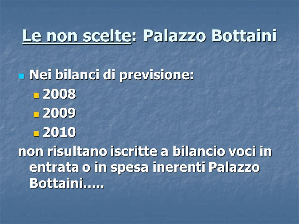 Le non scelte: Palazzo Bottaini Nei bilanci di previsione: Nei bilanci di previsione: 2008 2008 2009 2009 2010 2010 non risultano iscritte a bilancio voci in entrata o in spesa inerenti Palazzo Bottaini…..