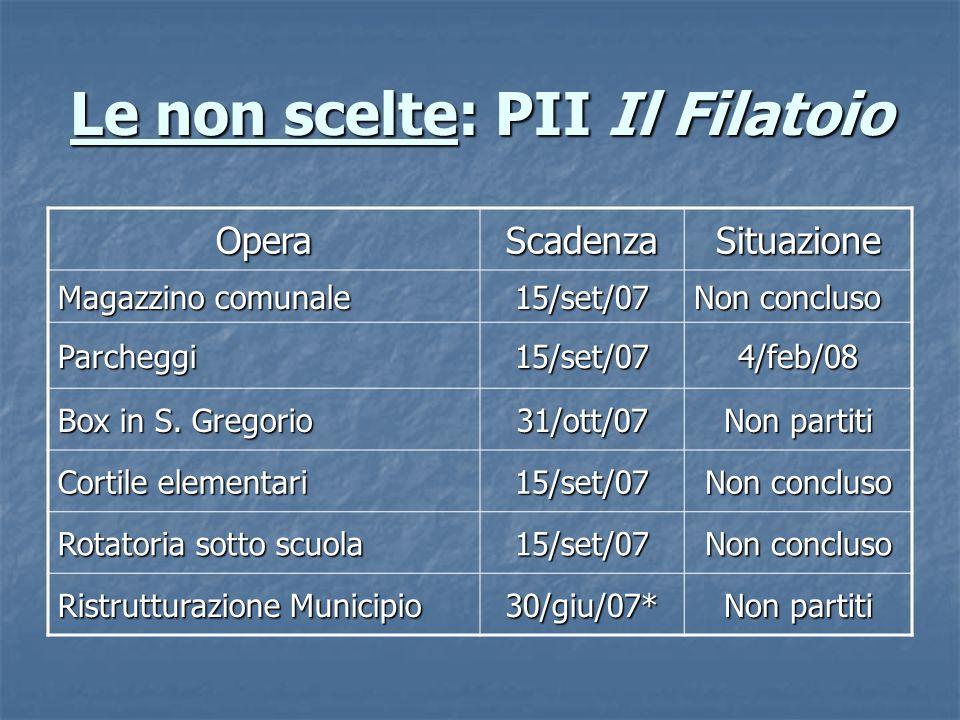 Le non scelte: PII Il Filatoio OperaScadenzaSituazione Magazzino comunale 15/set/07 Non concluso Parcheggi15/set/074/feb/08 Box in S.
