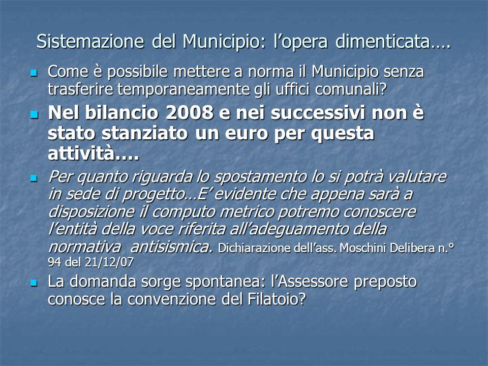 Sistemazione del Municipio: l'opera dimenticata….