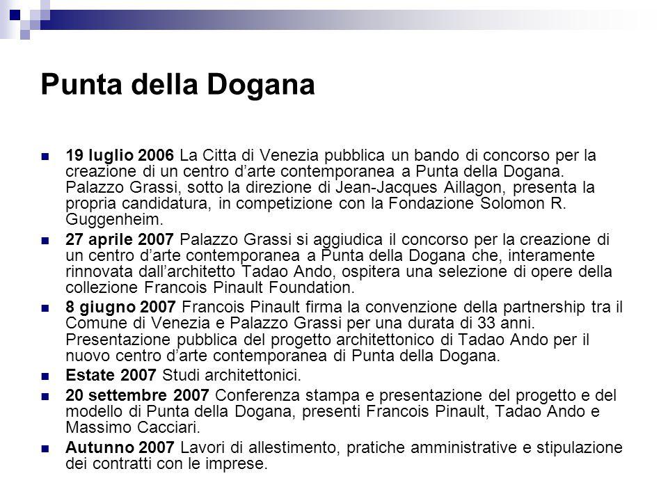 Punta della Dogana 19 luglio 2006 La Citta di Venezia pubblica un bando di concorso per la creazione di un centro d'arte contemporanea a Punta della D