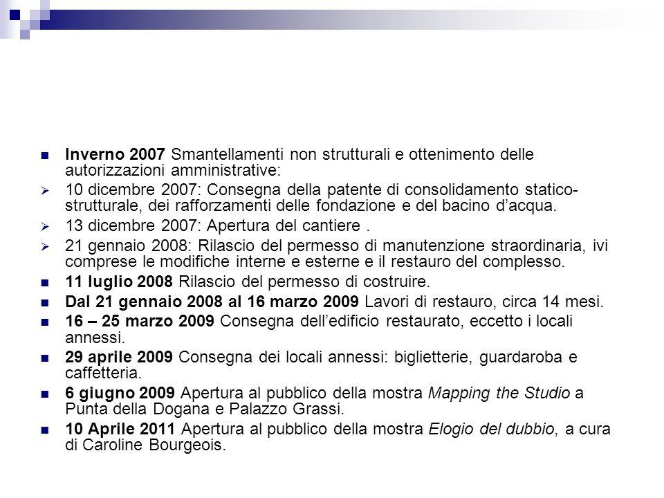 Inverno 2007 Smantellamenti non strutturali e ottenimento delle autorizzazioni amministrative:  10 dicembre 2007: Consegna della patente di consolida
