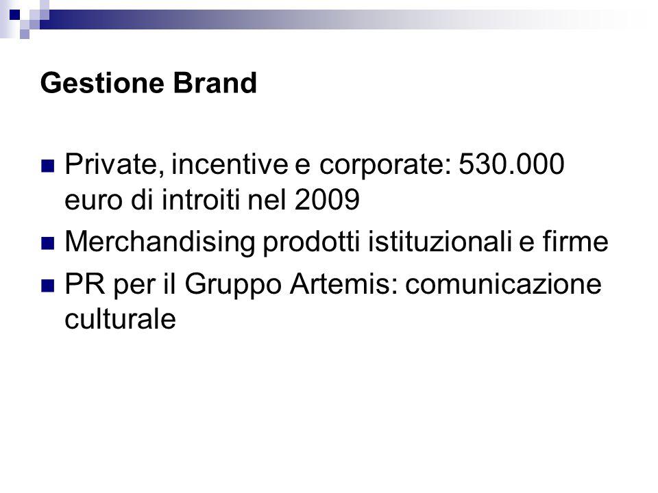 Gestione Brand Private, incentive e corporate: 530.000 euro di introiti nel 2009 Merchandising prodotti istituzionali e firme PR per il Gruppo Artemis