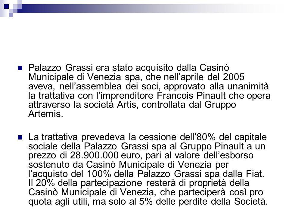 Palazzo Grassi era stato acquisito dalla Casinò Municipale di Venezia spa, che nell'aprile del 2005 aveva, nell'assemblea dei soci, approvato alla una