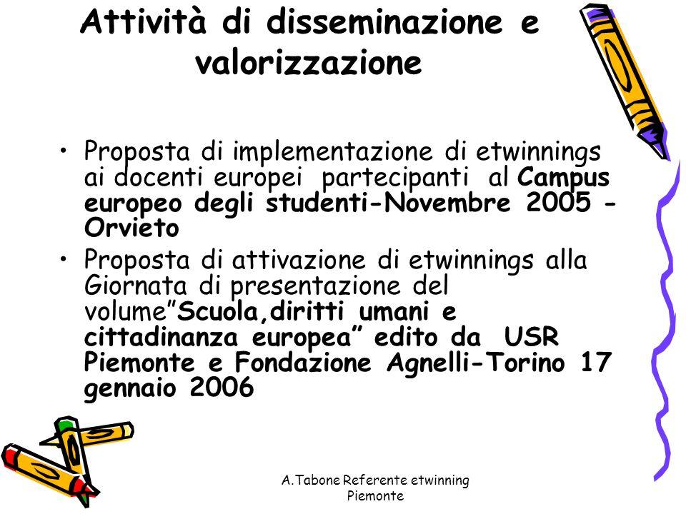 A.Tabone Referente etwinning Piemonte PROPOSTE 2006 Presentazione di esperienze regionali di e- twinnings alla Fiera internazionale del libro - Torino,maggio 2006.