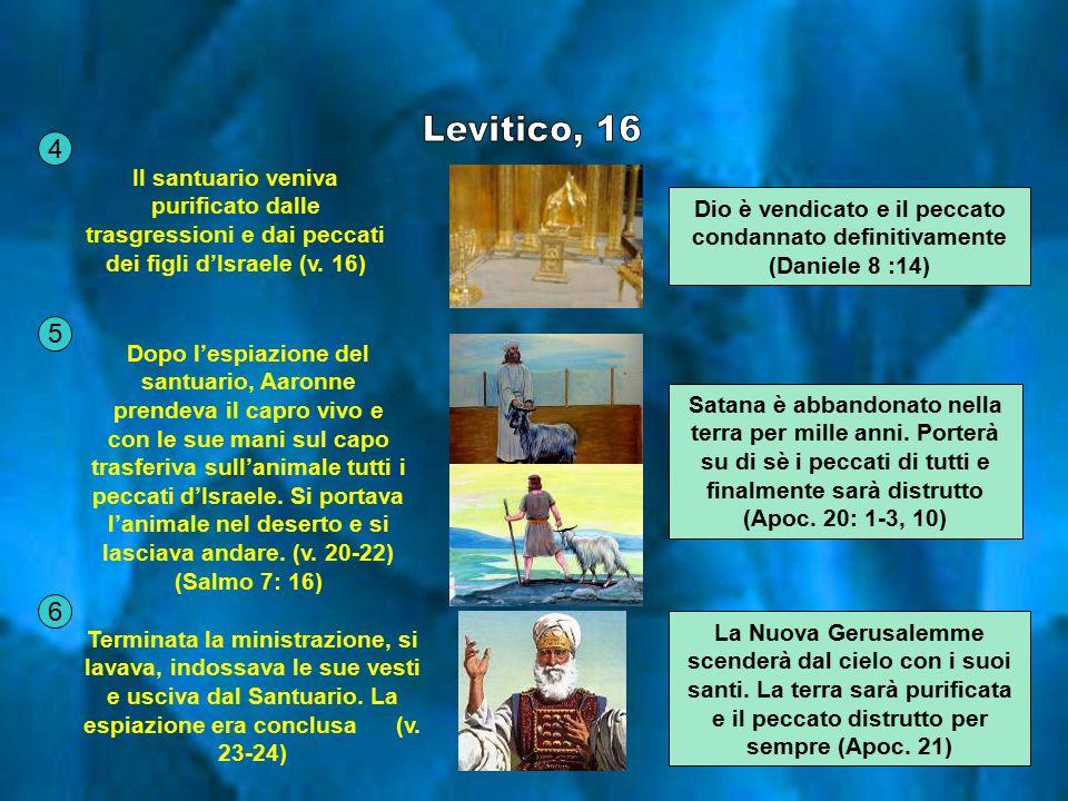Il santuario veniva purificato dalle trasgressioni e dai peccati dei figli d'Israele (v. 16) Dopo l'espiazione del santuario, Aaronne prendeva il capr