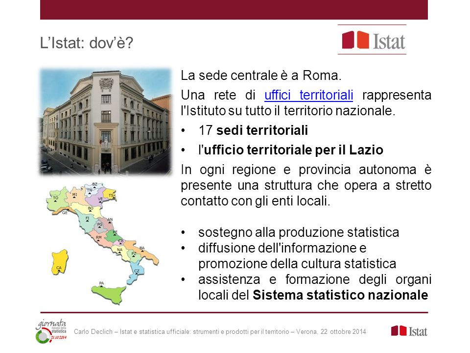 L'Istat: dov'è. La sede centrale è a Roma.