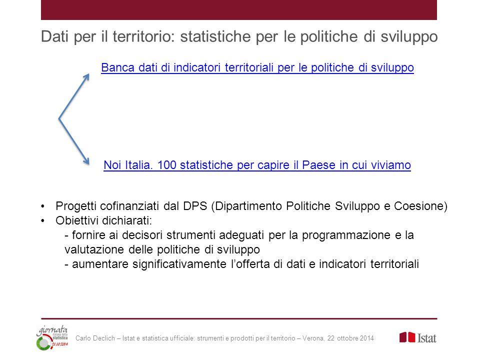 Dati per il territorio: statistiche per le politiche di sviluppo Progetti cofinanziati dal DPS (Dipartimento Politiche Sviluppo e Coesione) Obiettivi dichiarati: - fornire ai decisori strumenti adeguati per la programmazione e la valutazione delle politiche di sviluppo - aumentare significativamente l'offerta di dati e indicatori territoriali Banca dati di indicatori territoriali per le politiche di sviluppo Noi Italia.