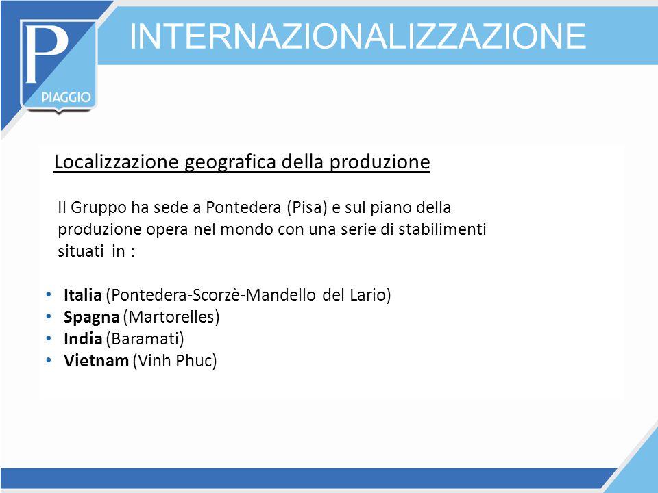 INTERNAZIONALIZZAZIONE Localizzazione geografica della produzione Il Gruppo ha sede a Pontedera (Pisa) e sul piano della produzione opera nel mondo co