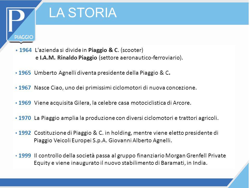 LA STORIA 1964 L'azienda si divide in Piaggio & C. (scooter) e I.A.M. Rinaldo Piaggio (settore aeronautico-ferroviario). 1965 Umberto Agnelli diventa