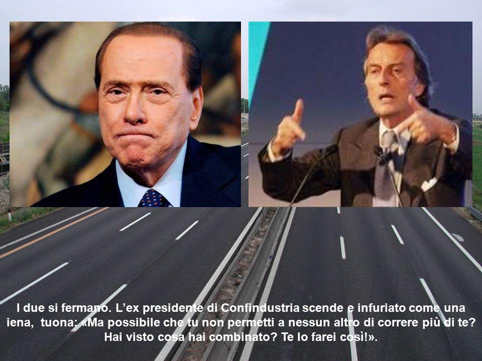 Improvvisamente dallo specchietto retrovisore vede arrivare su una biga, stile Ben Hur, Silvio Berlusconi che lo supera e lo sperona, devastandogli la fiancata