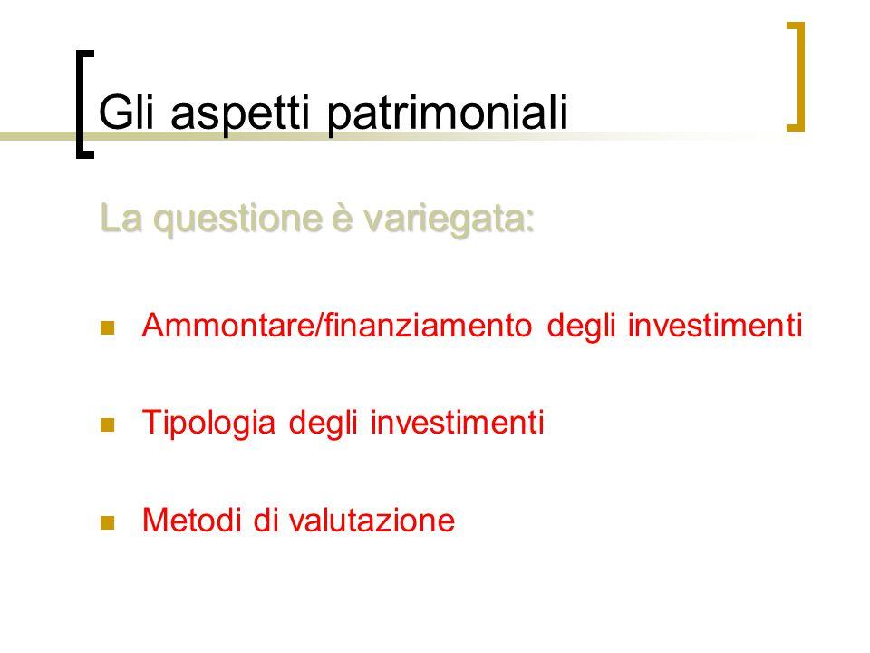 Gli aspetti patrimoniali La questione è variegata: Ammontare/finanziamento degli investimenti Tipologia degli investimenti Metodi di valutazione