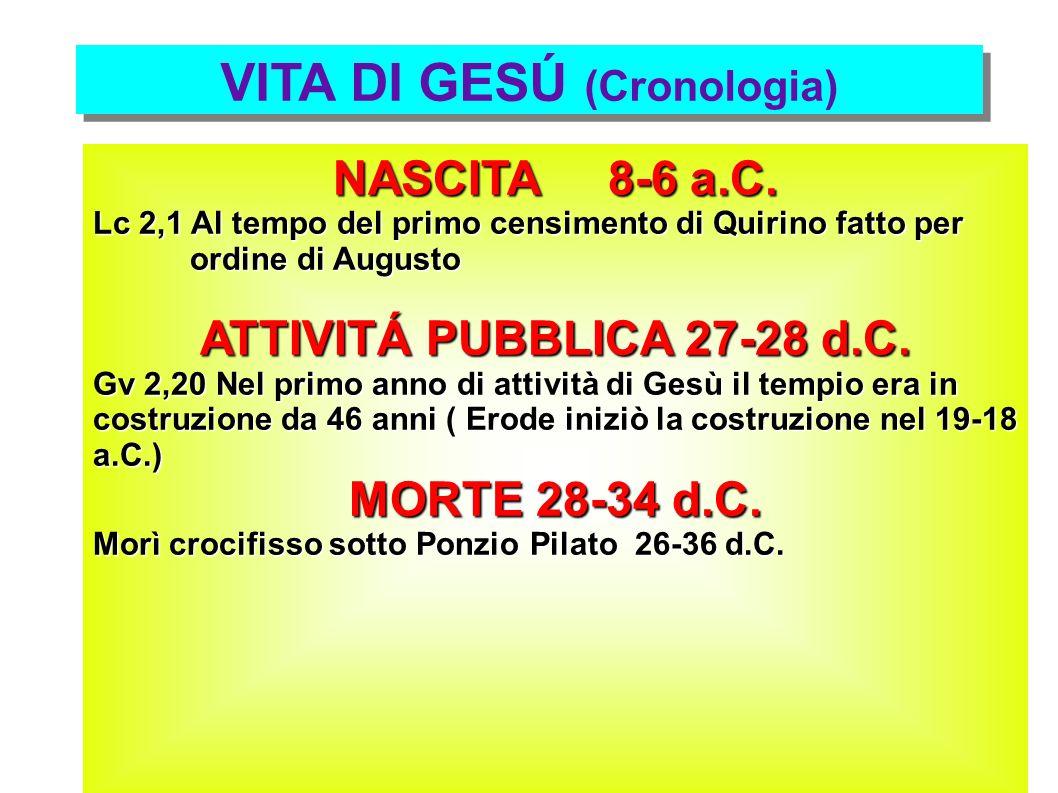 VITA DI GESÚ (Cronologia) NASCITA 8-6 a.C. Lc 2,1 Al tempo del primo censimento di Quirino fatto per ordine di Augusto ordine di Augusto ATTIVITÁ PUBB