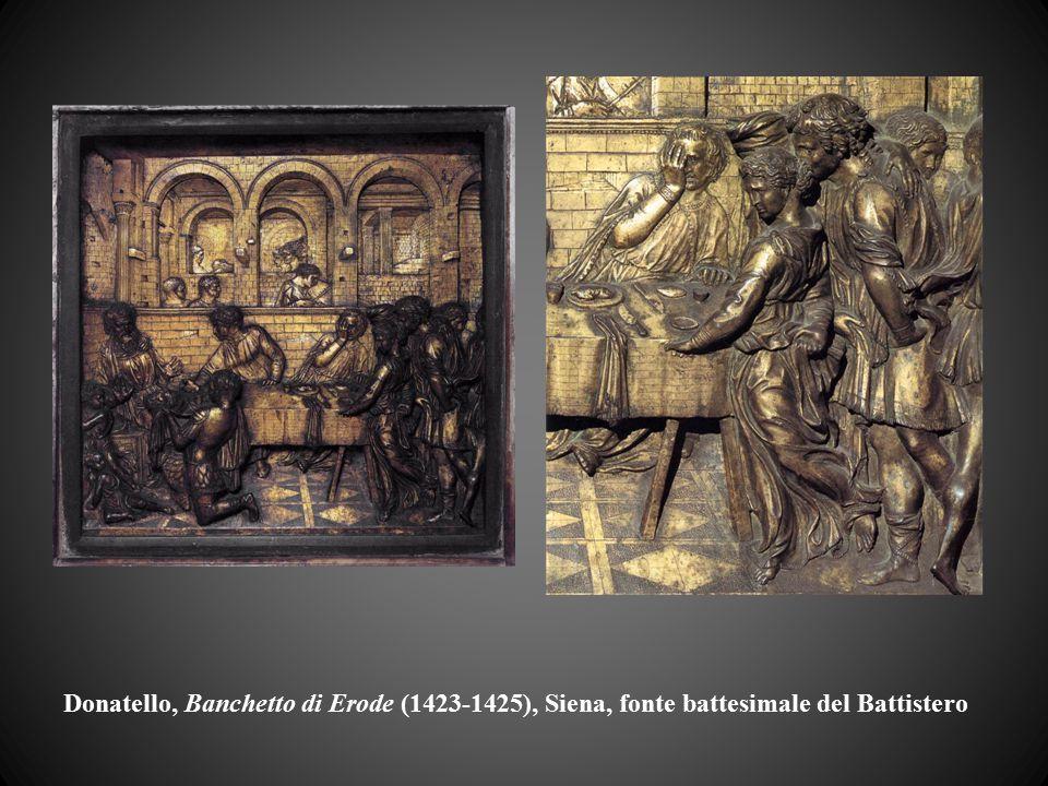 Donatello, Banchetto di Erode (1423-1425), Siena, fonte battesimale del Battistero