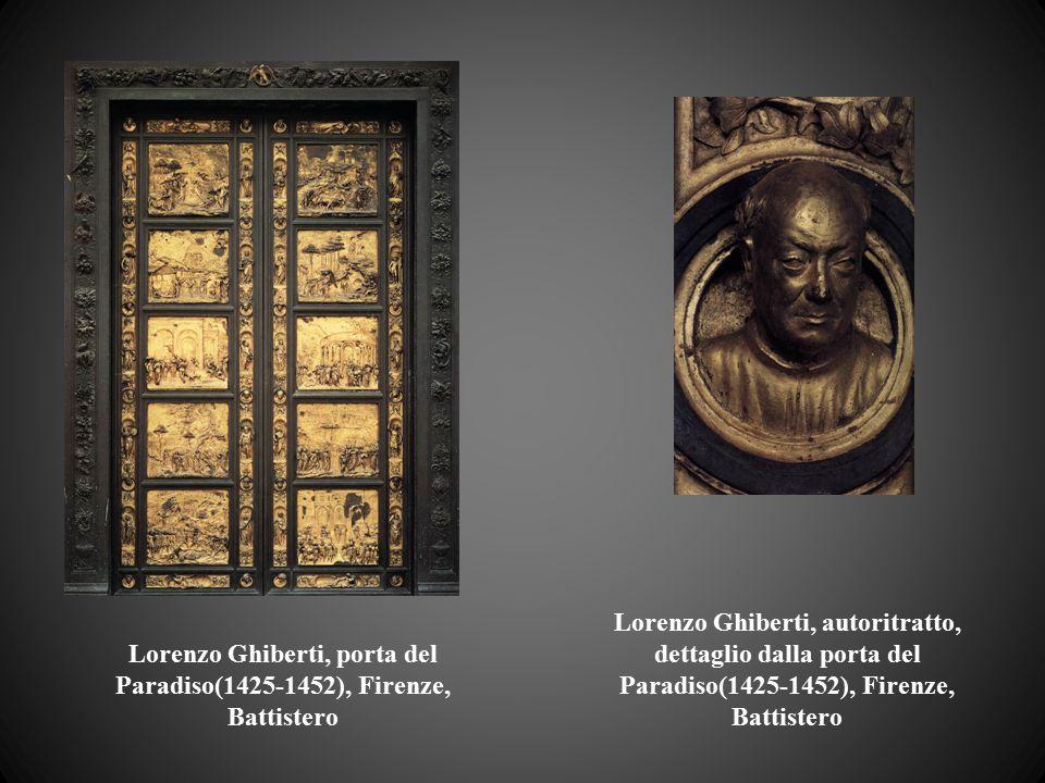 Lorenzo Ghiberti, porta del Paradiso(1425-1452), Firenze, Battistero Lorenzo Ghiberti, autoritratto, dettaglio dalla porta del Paradiso(1425-1452), Fi