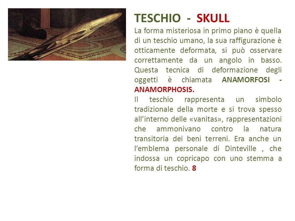TESCHIO - SKULL La forma misteriosa in primo piano è quella di un teschio umano, la sua raffigurazione è otticamente deformata, si può osservare corre
