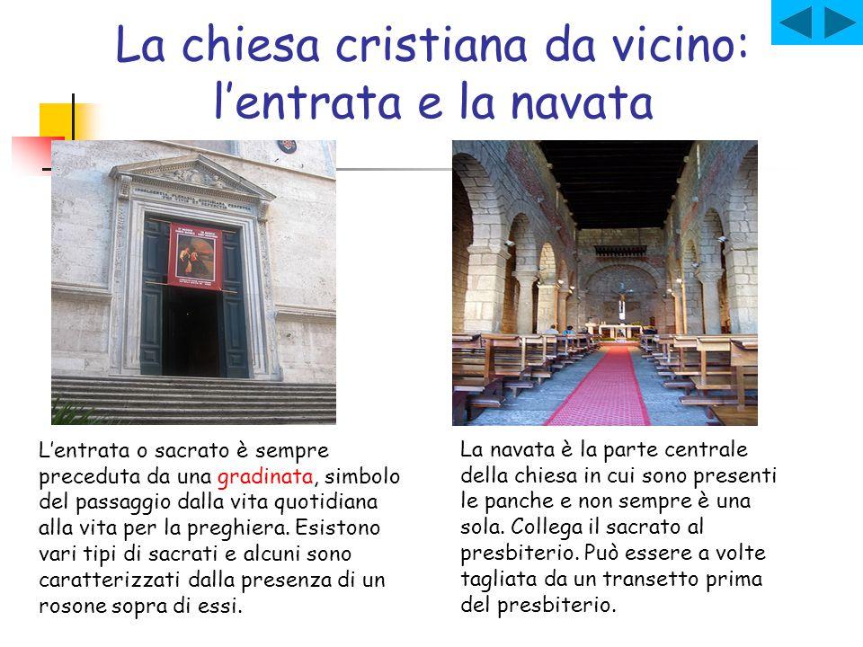 La chiesa cristiana da vicino: l'entrata e la navata L'entrata o sacrato è sempre preceduta da una gradinata, simbolo del passaggio dalla vita quotidi