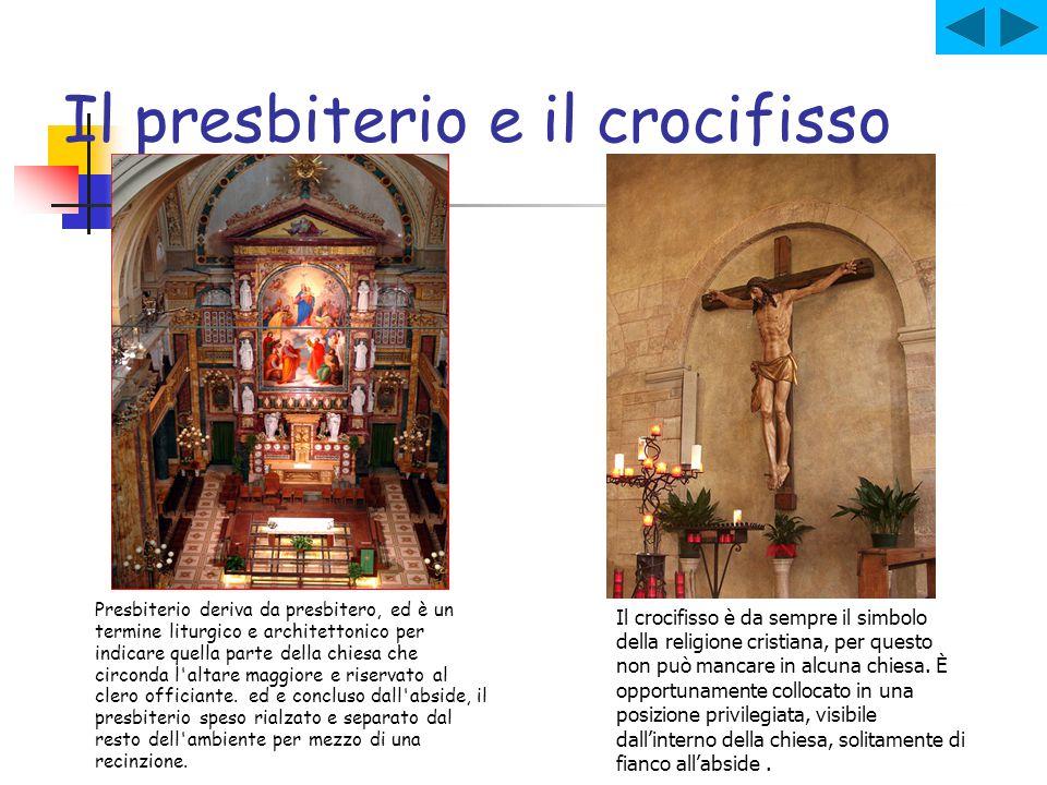 Il presbiterio e il crocifisso Presbiterio deriva da presbitero, ed è un termine liturgico e architettonico per indicare quella parte della chiesa che