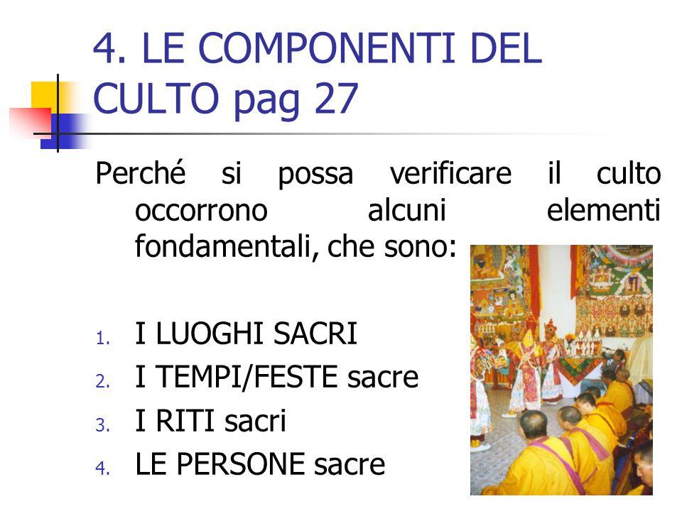 4. LE COMPONENTI DEL CULTO pag 27 Perché si possa verificare il culto occorrono alcuni elementi fondamentali, che sono:. 1. I LUOGHI SACRI 2. I TEMPI/