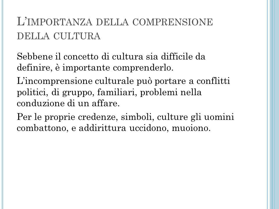 L' IMPORTANZA DELLA COMPRENSIONE DELLA CULTURA Sebbene il concetto di cultura sia difficile da definire, è importante comprenderlo. L'incomprensione c