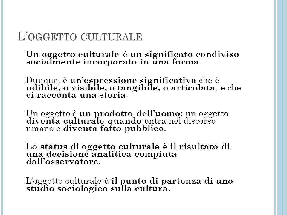 L' OGGETTO CULTURALE Un oggetto culturale è un significato condiviso socialmente incorporato in una forma. Dunque, è un'espressione significativa che