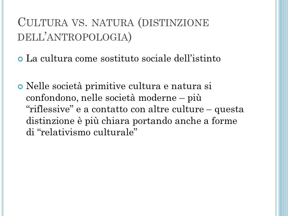 C ULTURA VS. NATURA ( DISTINZIONE DELL ' ANTROPOLOGIA ) La cultura come sostituto sociale dell'istinto Nelle società primitive cultura e natura si con