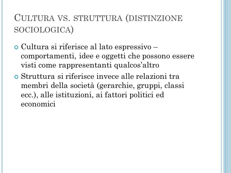C ULTURA VS. STRUTTURA ( DISTINZIONE SOCIOLOGICA ) Cultura si riferisce al lato espressivo – comportamenti, idee e oggetti che possono essere visti co