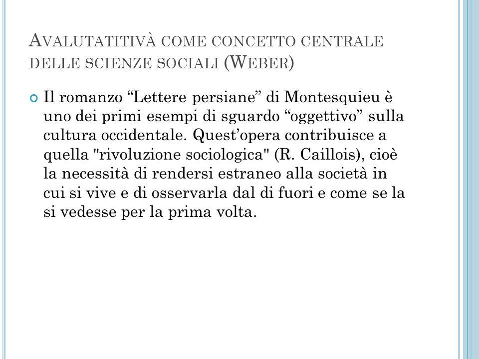 """A VALUTATITIVÀ COME CONCETTO CENTRALE DELLE SCIENZE SOCIALI (W EBER ) Il romanzo """"Lettere persiane"""" di Montesquieu è uno dei primi esempi di sguardo """""""