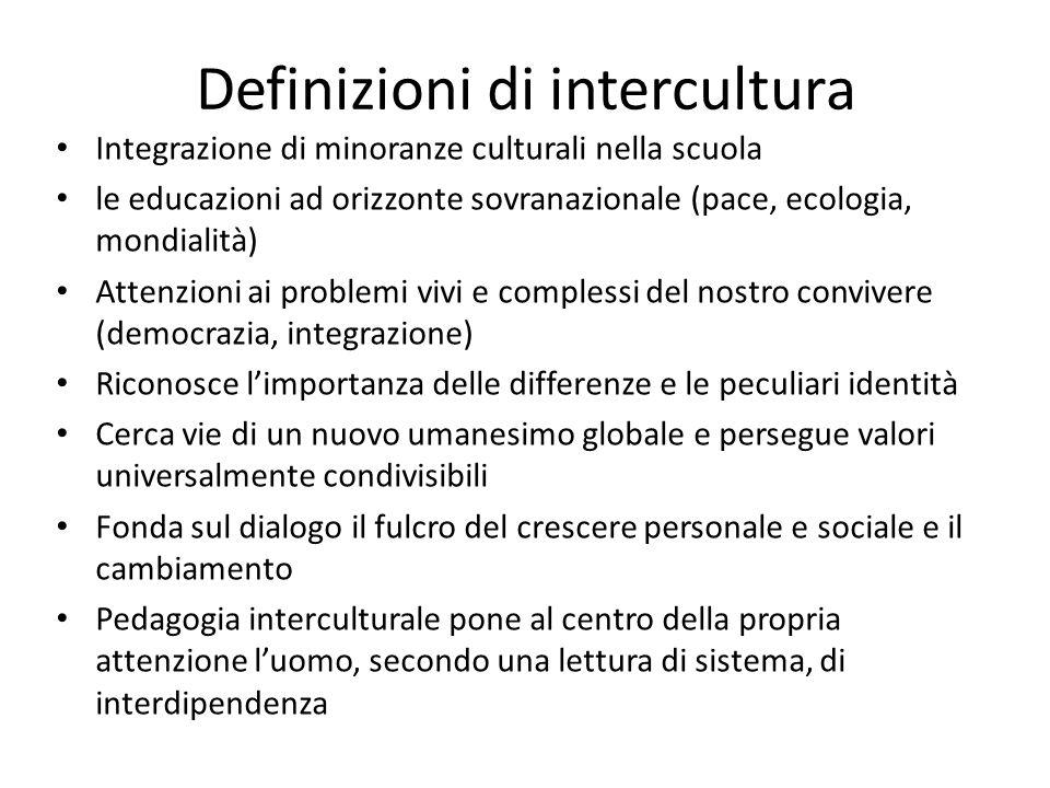 Definizioni di intercultura Integrazione di minoranze culturali nella scuola le educazioni ad orizzonte sovranazionale (pace, ecologia, mondialità) At