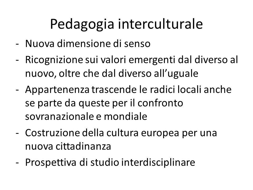 Pedagogia interculturale -Nuova dimensione di senso -Ricognizione sui valori emergenti dal diverso al nuovo, oltre che dal diverso all'uguale -Apparte
