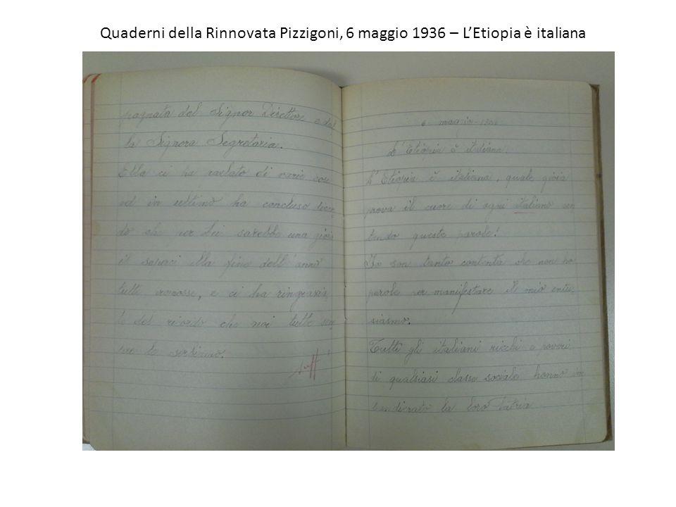 Quaderni della Rinnovata Pizzigoni, 6 maggio 1936 – L'Etiopia è italiana