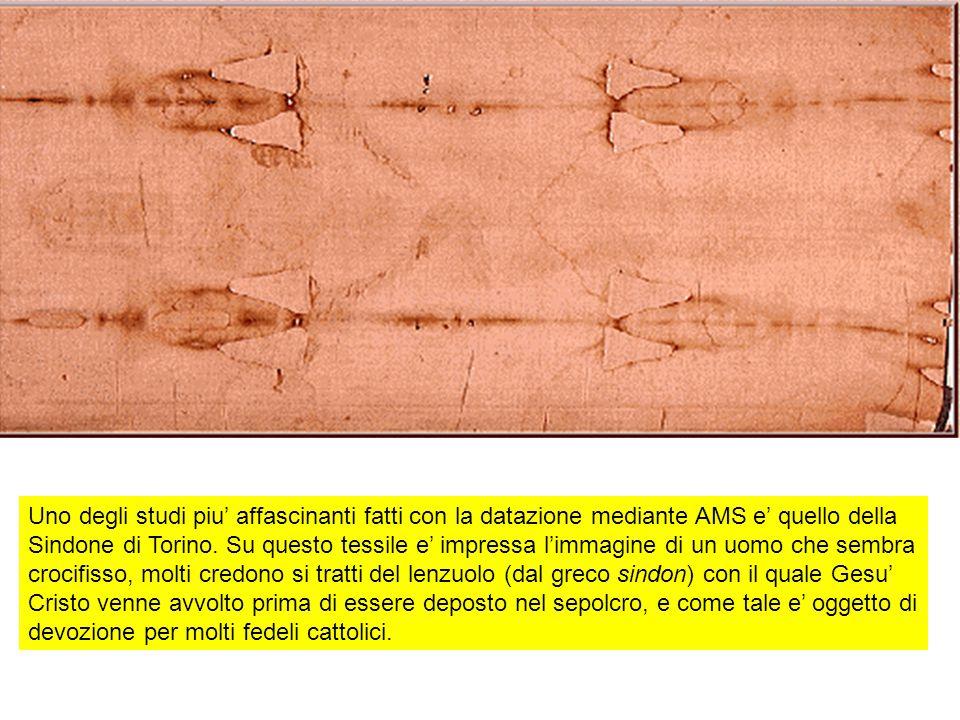 Uno degli studi piu' affascinanti fatti con la datazione mediante AMS e' quello della Sindone di Torino.
