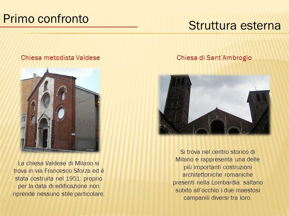 Struttura esterna Chiesa metodista ValdeseChiesa di Sant'Ambrogio Primo confronto La chiesa Valdese di Milano si trova in via Francesco Sforza ed è stata costruita nel 1951: proprio per la data di edificazione non riprende nessuno stile particolare.
