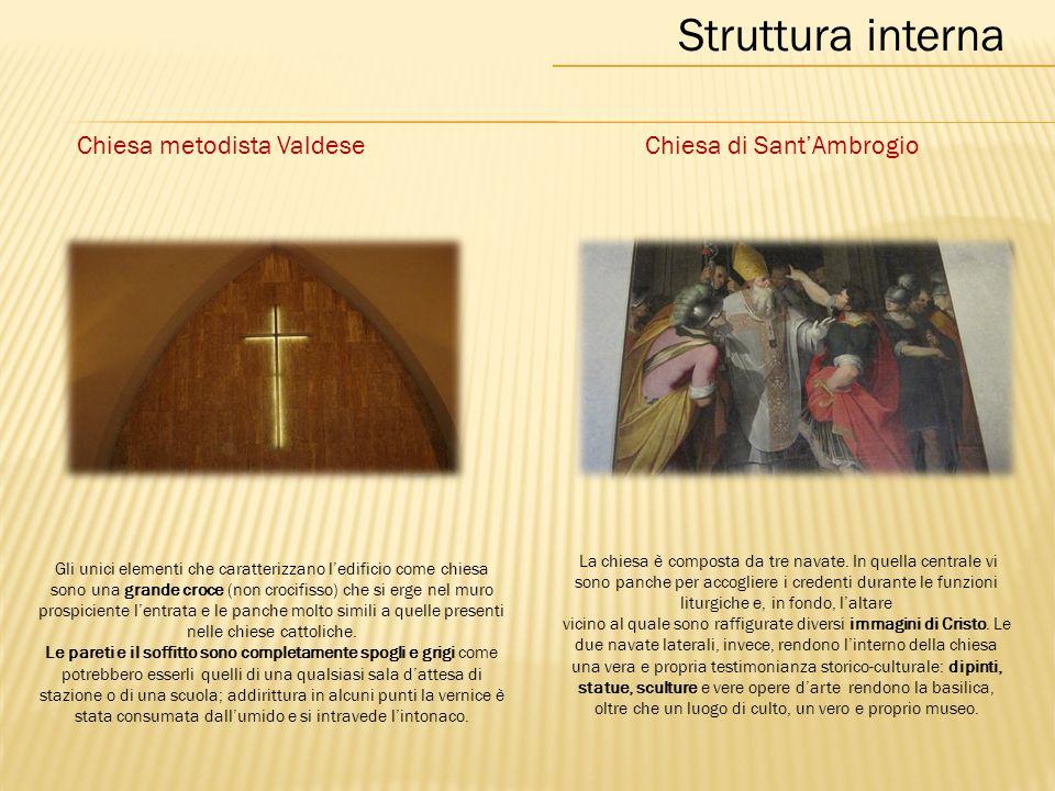 Struttura interna Chiesa metodista ValdeseChiesa di Sant'Ambrogio La chiesa è composta da tre navate.