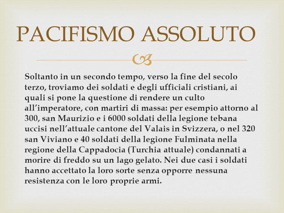  Teologia agostiniana sulla guerra :  AGOSTINO NON AMMETTE L'AUTODIFESA PERSONALE: il cristiano deve accettare di morire, e non uccidere il suo nemico che l'attacca.