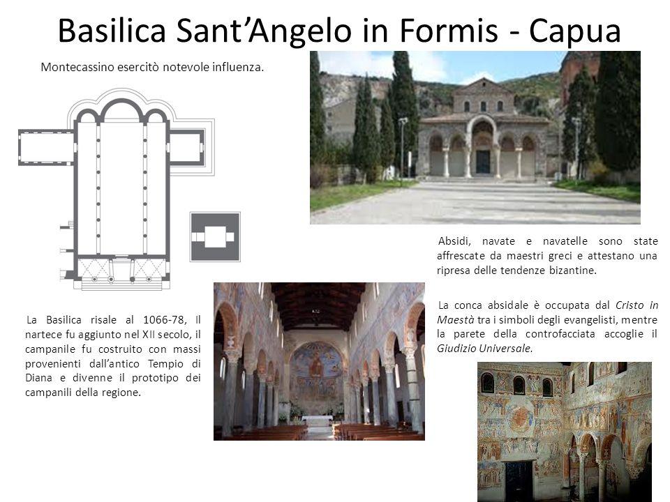 Basilica Sant'Angelo in Formis - Capua Montecassino esercitò notevole influenza. La Basilica risale al 1066-78, Il nartece fu aggiunto nel XII secolo,
