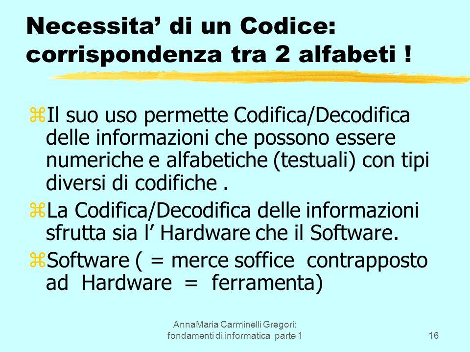 AnnaMaria Carminelli Gregori: fondamenti di informatica parte 116 zIl suo uso permette Codifica/Decodifica delle informazioni che possono essere numeriche e alfabetiche (testuali) con tipi diversi di codifiche.