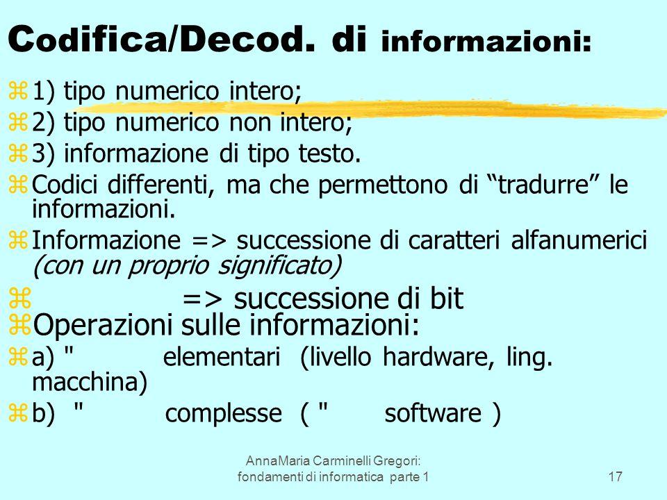 AnnaMaria Carminelli Gregori: fondamenti di informatica parte 117 C od ifica/Decod. di informazioni: z1) tipo numerico intero; z2) tipo numerico non i