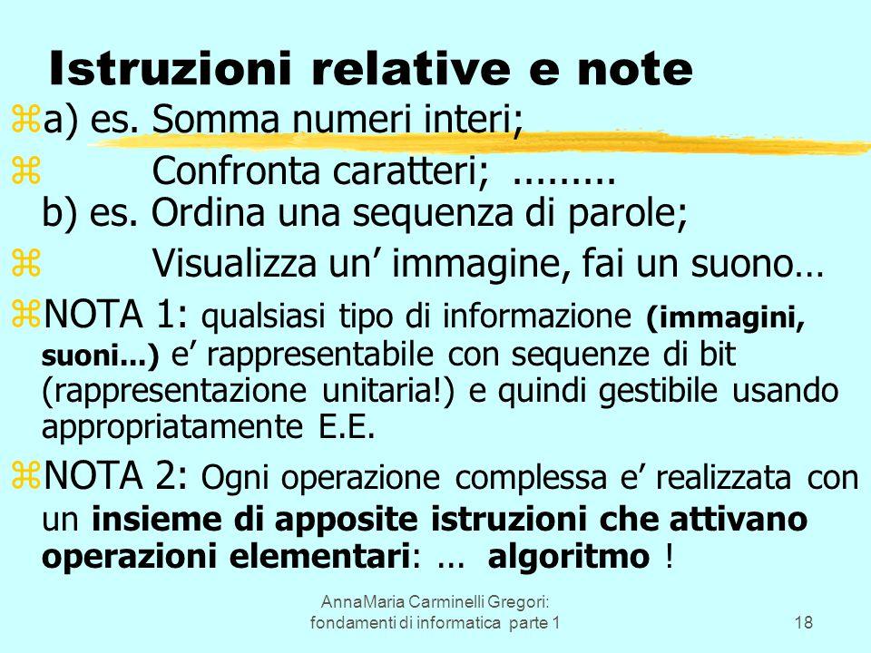 AnnaMaria Carminelli Gregori: fondamenti di informatica parte 118 Istruzioni relative e note za) es. Somma numeri interi; z Confronta caratteri;......