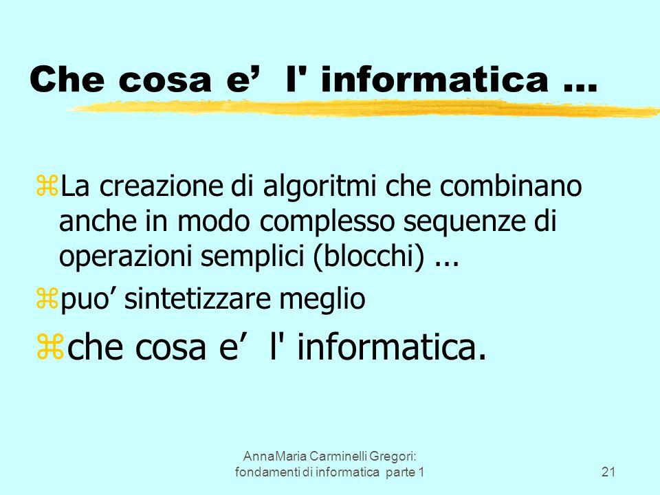 AnnaMaria Carminelli Gregori: fondamenti di informatica parte 121 Che cosa e' l informatica … zLa creazione di algoritmi che combinano anche in modo complesso sequenze di operazioni semplici (blocchi)...