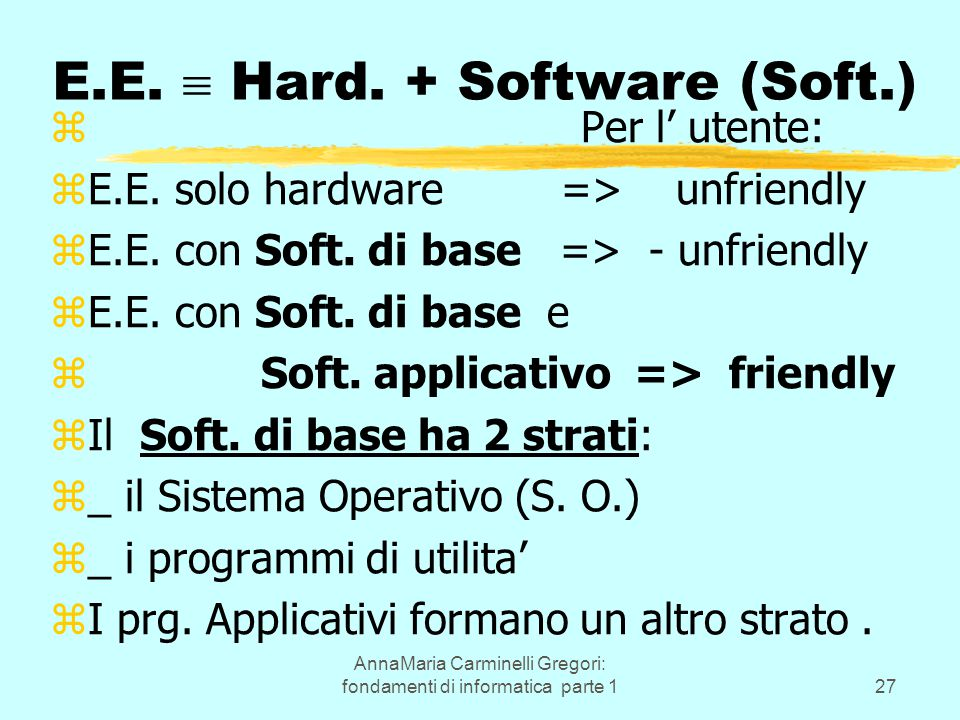 AnnaMaria Carminelli Gregori: fondamenti di informatica parte 127 E.E.  Hard. + Software (Soft.) z Per l' utente: zE.E. solo hardware => unfriendly z