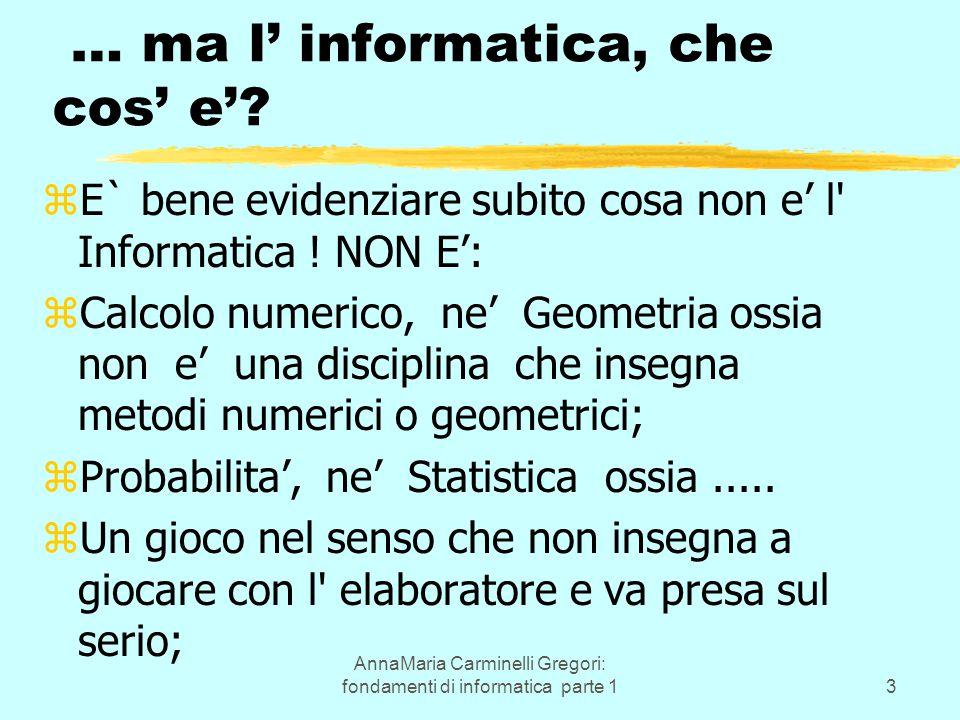 AnnaMaria Carminelli Gregori: fondamenti di informatica parte 13 … ma l' informatica, che cos' e'? zE` bene evidenziare subito cosa non e' l' Informat