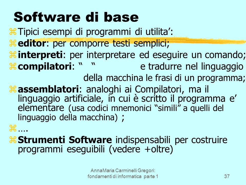 AnnaMaria Carminelli Gregori: fondamenti di informatica parte 137 Software di base zTipici esempi di programmi di utilita': zeditor: per comporre test