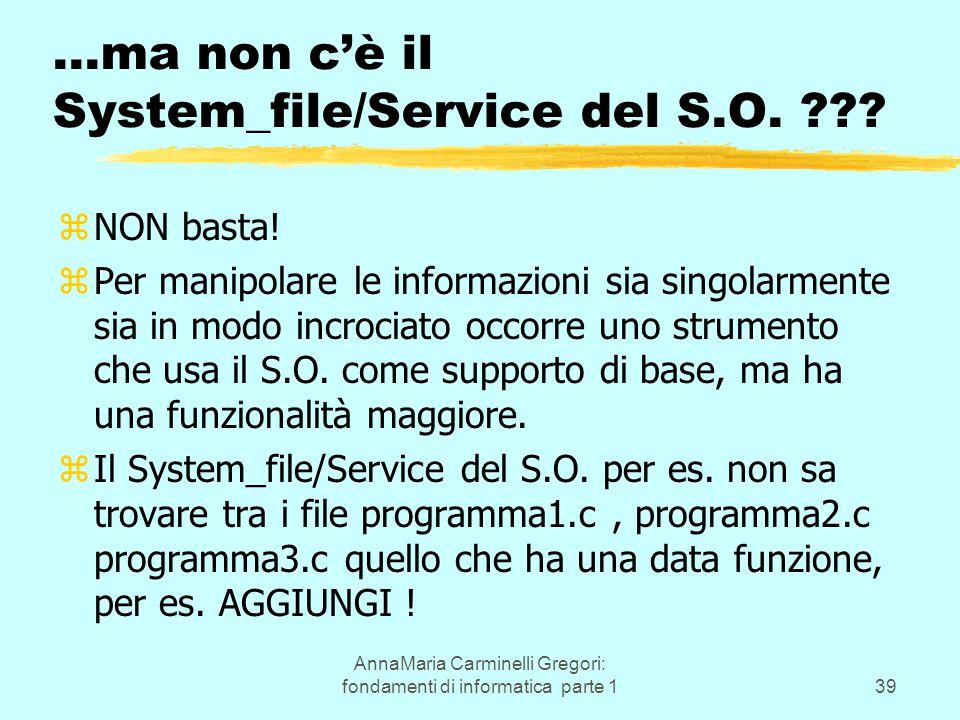 AnnaMaria Carminelli Gregori: fondamenti di informatica parte 139 …ma non c'è il System_file/Service del S.O. ??? zNON basta! zPer manipolare le infor