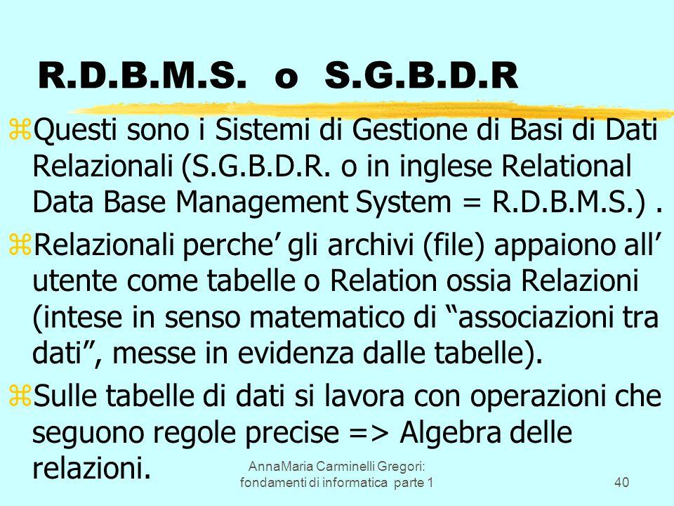 AnnaMaria Carminelli Gregori: fondamenti di informatica parte 140 R.D.B.M.S. o S.G.B.D.R zQuesti sono i Sistemi di Gestione di Basi di Dati Relazional