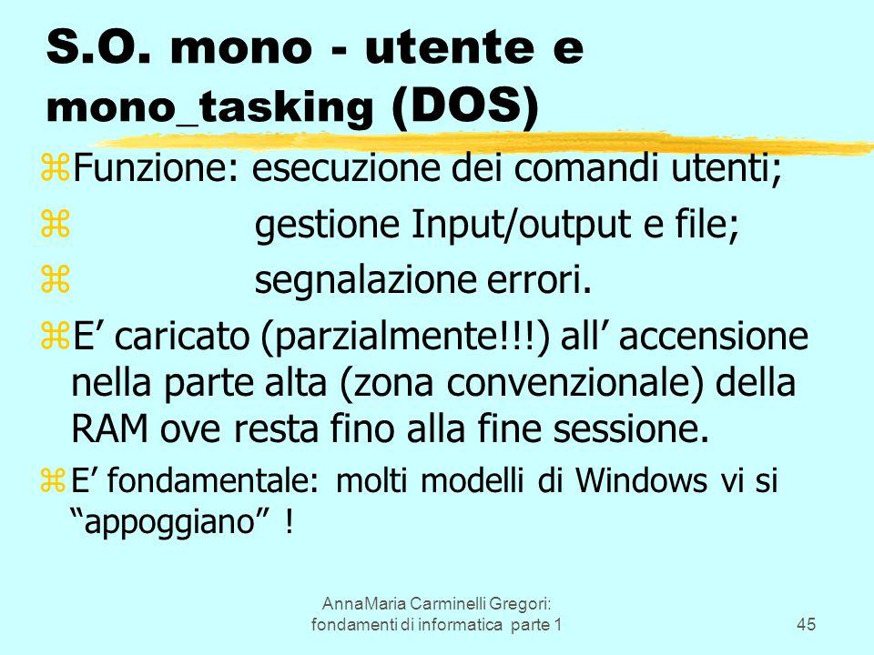 AnnaMaria Carminelli Gregori: fondamenti di informatica parte 145 S.O. mono - utente e mono_tasking (DOS) zFunzione: esecuzione dei comandi utenti; z
