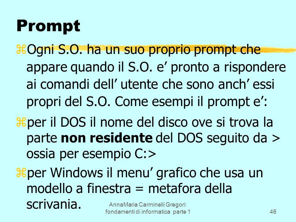 AnnaMaria Carminelli Gregori: fondamenti di informatica parte 146 Prompt zOgni S.O. ha un suo proprio prompt che appare quando il S.O. e' pronto a ris