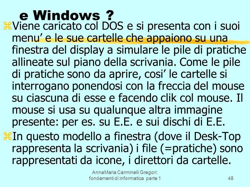 AnnaMaria Carminelli Gregori: fondamenti di informatica parte 148 e Windows ? zViene caricato col DOS e si presenta con i suoi menu' e le sue cartelle