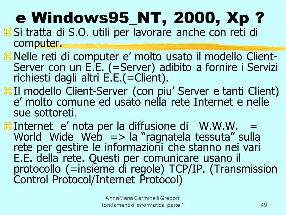 AnnaMaria Carminelli Gregori: fondamenti di informatica parte 149 e Windows95_NT, 2000, Xp ? zSi tratta di S.O. utili per lavorare anche con reti di c