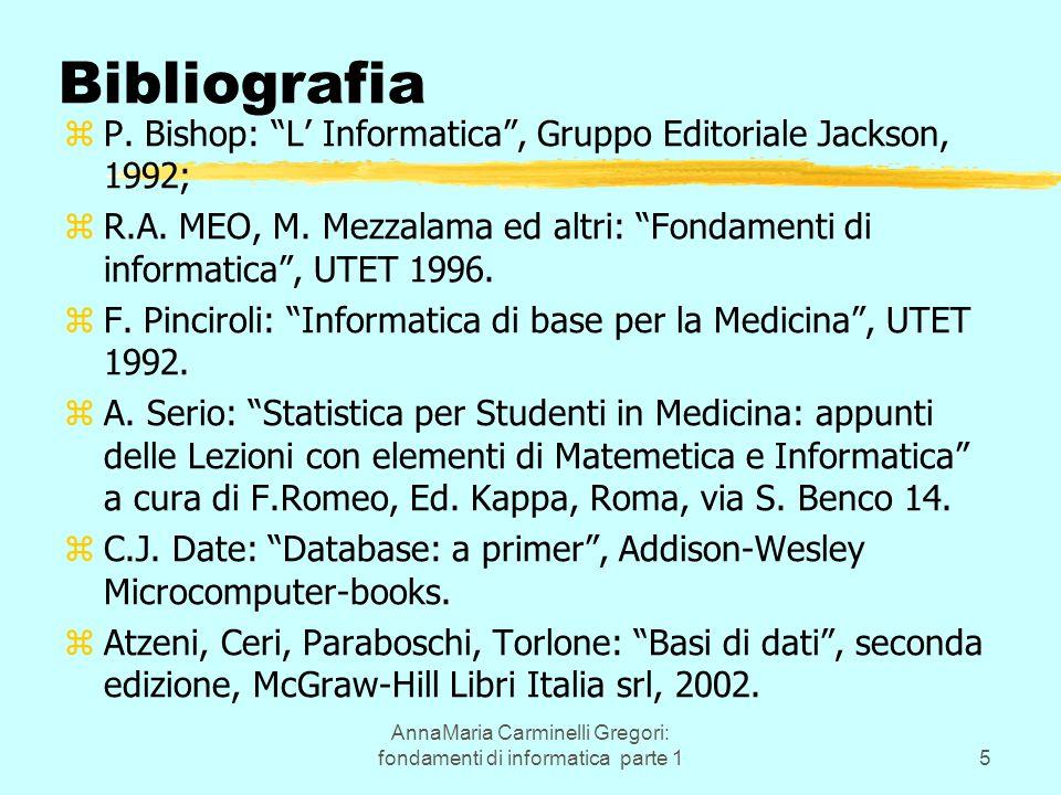 "AnnaMaria Carminelli Gregori: fondamenti di informatica parte 15 Bibliografia zP. Bishop: ""L' Informatica"", Gruppo Editoriale Jackson, 1992; zR.A. MEO"
